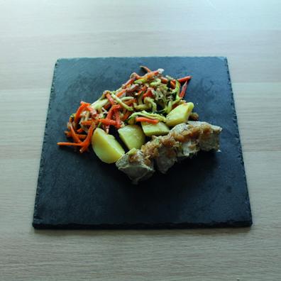 Atún con patata y verduras toque cebolla caramelizada
