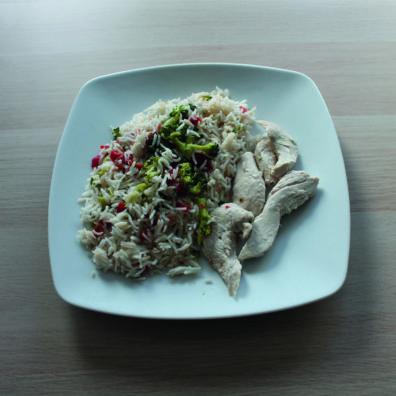 Pollo a la soja con arroz y verduras